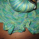 Another basketweave scarf, knit lengthwise with ruffled edges, in mercerized cotton.