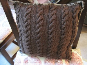 Two Sided Throw Pillow Knitted Side