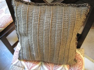 Two Sided Throw Pillow Tunisian Side