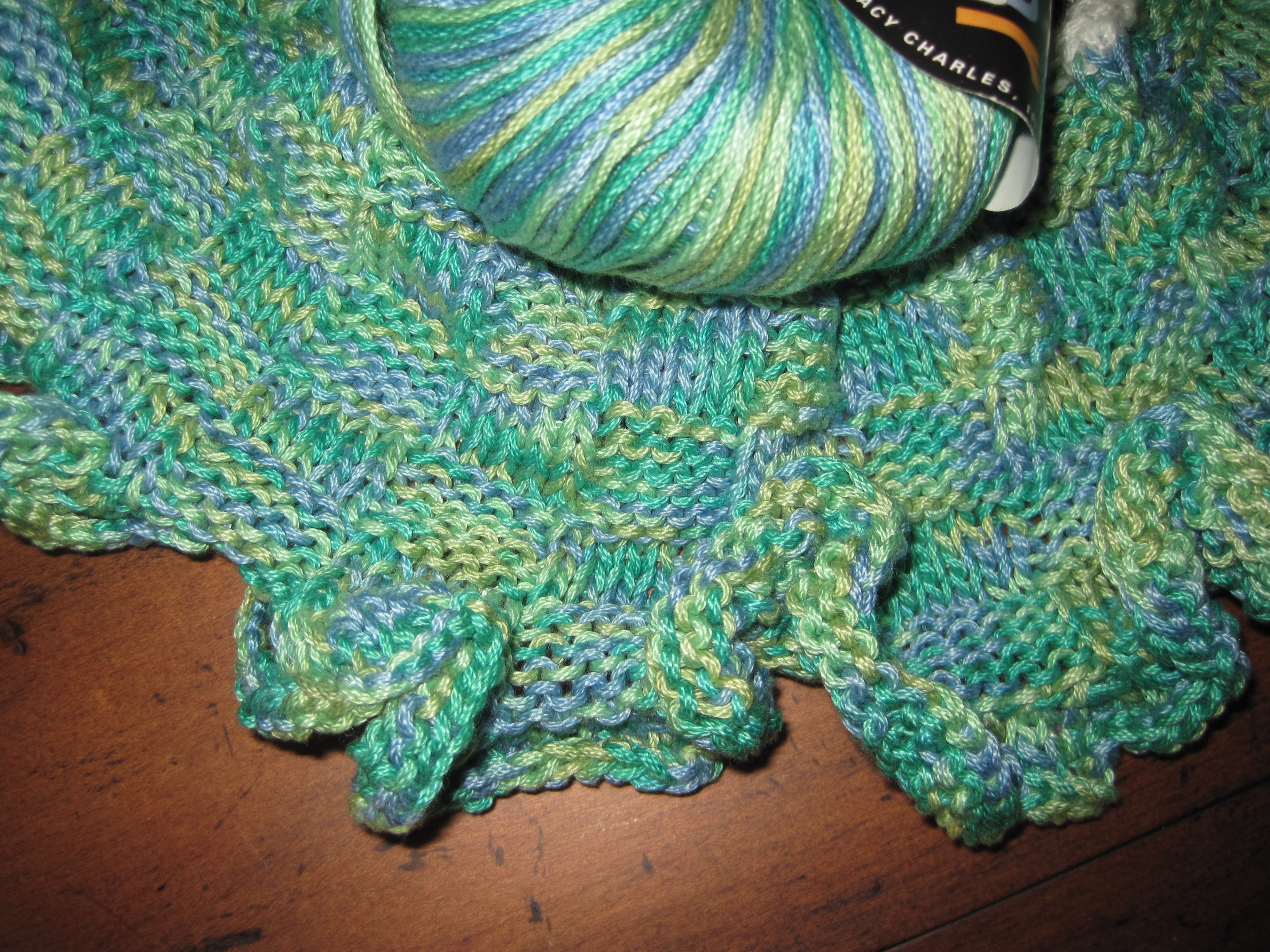 Another Basketweave Scarf Knit Lengthwise With Ruffled Edges In